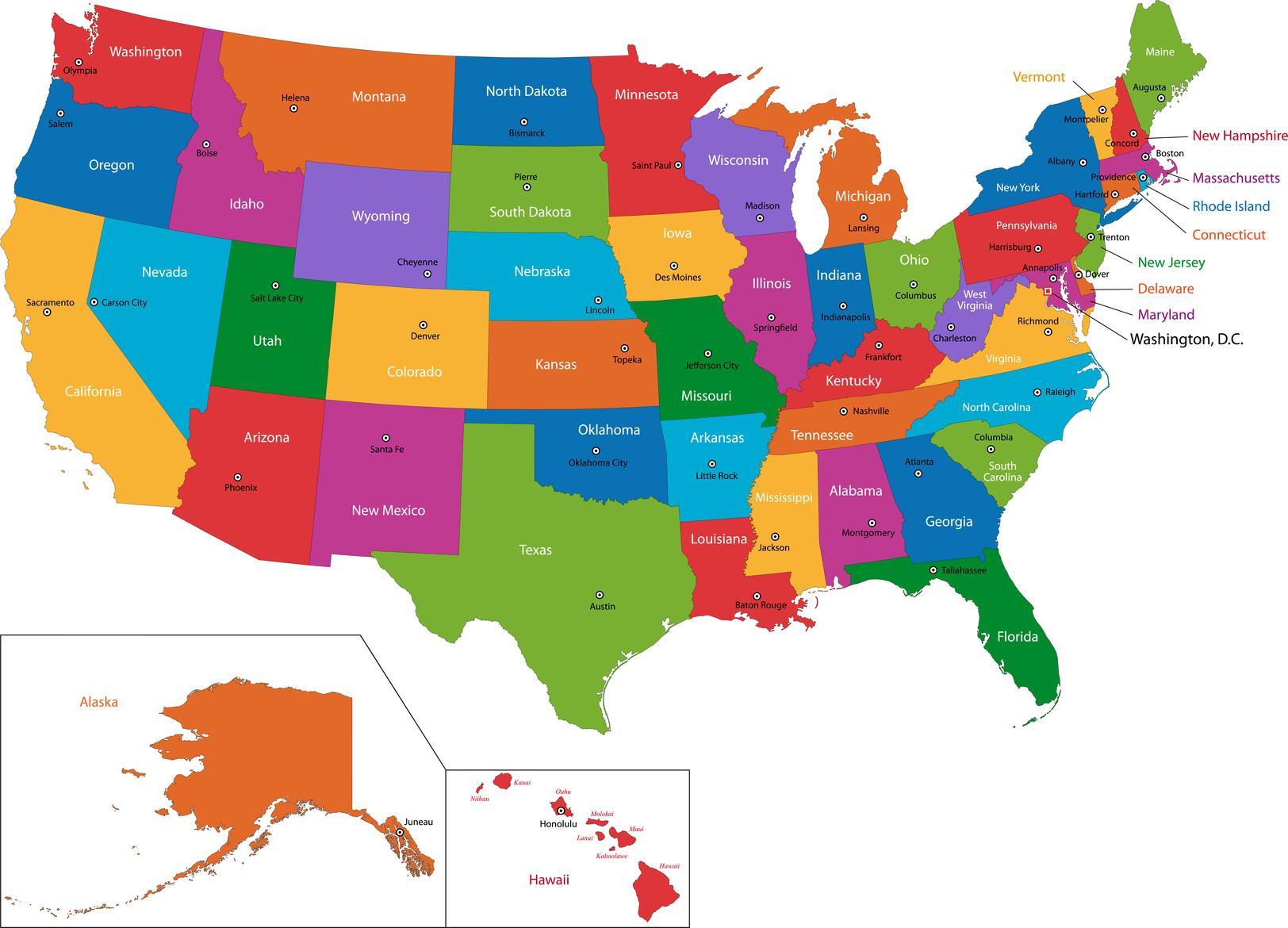 Cartina Stati Uniti Damerica Con Capitali.Mappa Degli Stati Uniti Con Gli Stati E Le Capitali Mappa Degli Stati Uniti Con Gli Stati E Le Capitali America Del Nord America