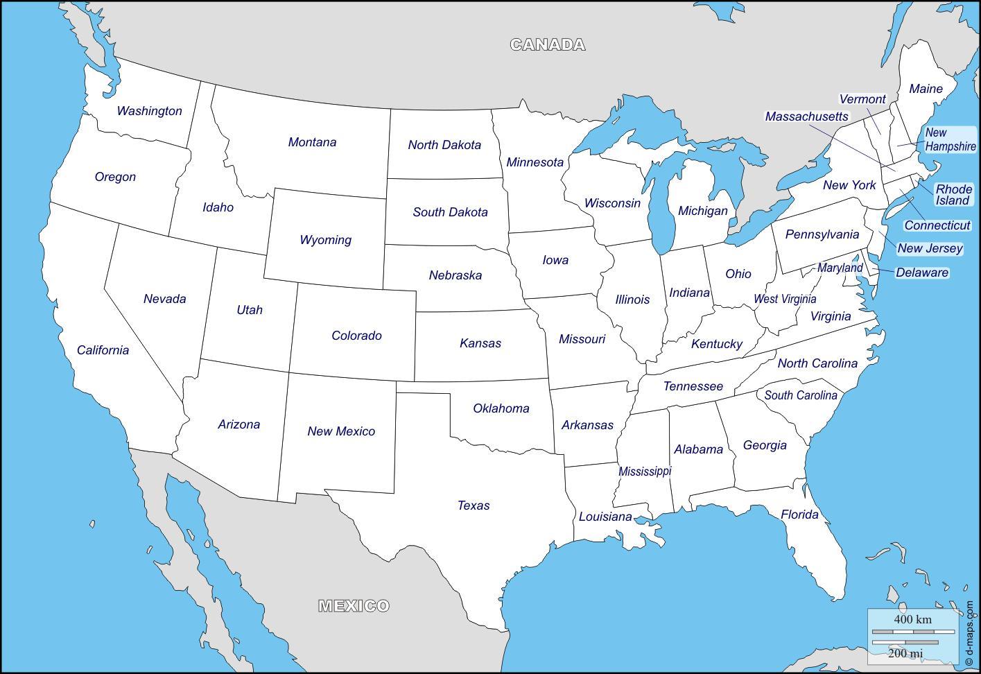 La Cartina Degli Stati Uniti D America.Mappa Di Stati Uniti D America Con I Nomi Degli Stati Mappa Degli Stati Uniti Con I Nomi Degli Stati Dell America Del Nord America