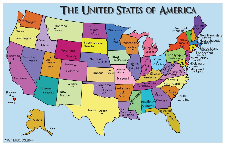 Usa Cartina Politica Con Capitali.Mappa Stati Uniti D America Con Capitali