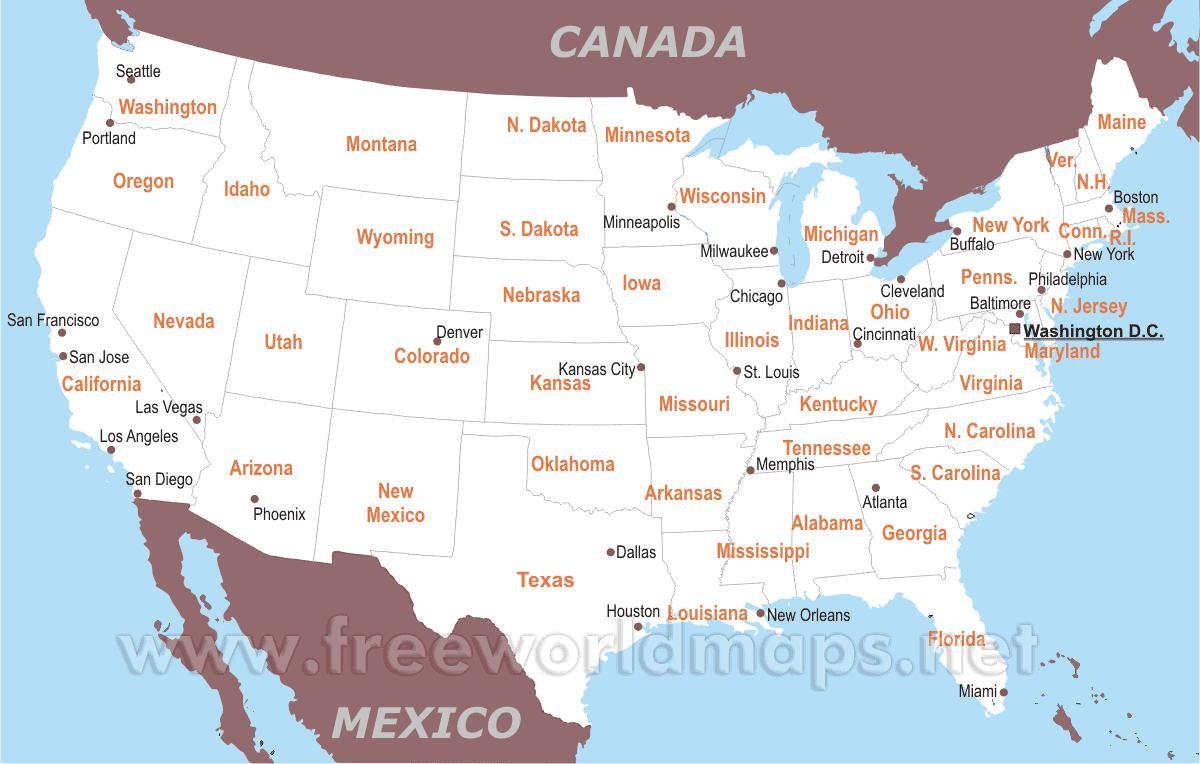 Cartina Mondo Con Nomi Stati.Mappa Di Stati Uniti D America Con Lo Stato E Con I Nomi Di Citta Mappa Degli Stati Uniti Con Lo Stato E Con I Nomi Di Citta America Del Nord