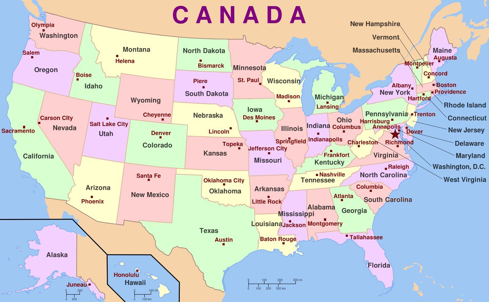 Cartina Stati Uniti Stati E Capitali.Mappa Di Stati Uniti D America Stati E Capitali Usa Stati E Capitali Mappa America Del Nord America
