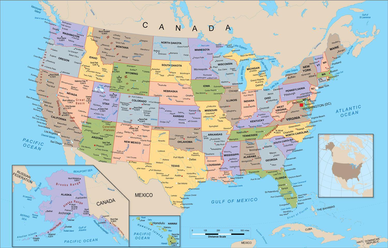 Cartina Geografica Degli Stati Uniti Di America.Mappa Di Stati Uniti La Mappa Degli Stati Uniti America Del Nord America
