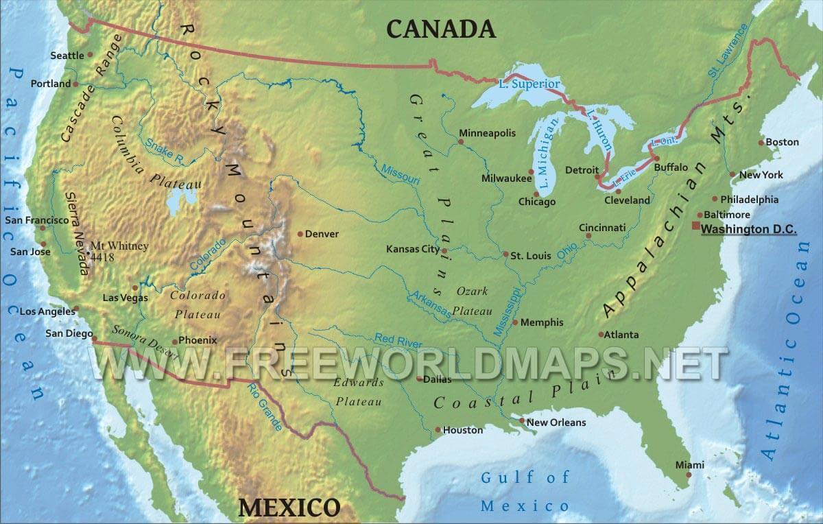 Usa Cartina Geografica Fisica.Mappa Fisica Di Stati Uniti Mappa Fisica Di Stati Uniti America