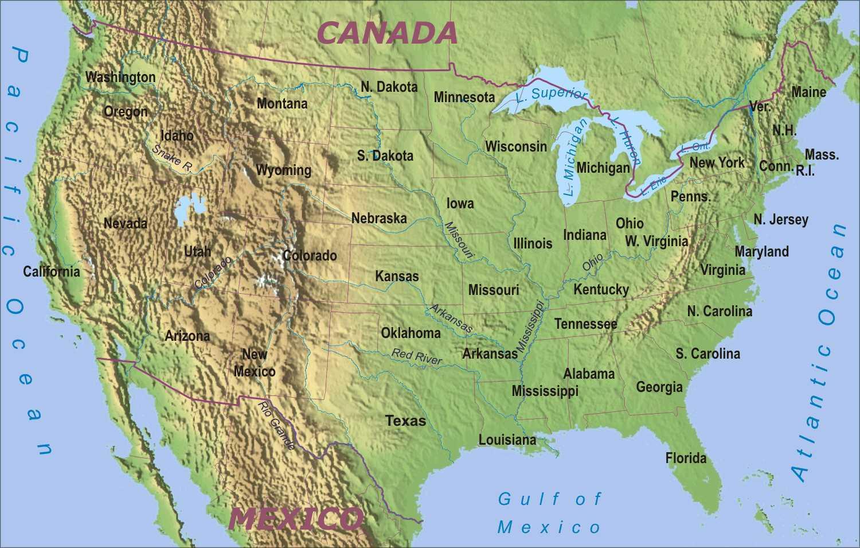 Canada Cartina Fisica.Mappa Fisica Di Usa Mappa Di Stati Uniti D America Fisico America Del Nord America