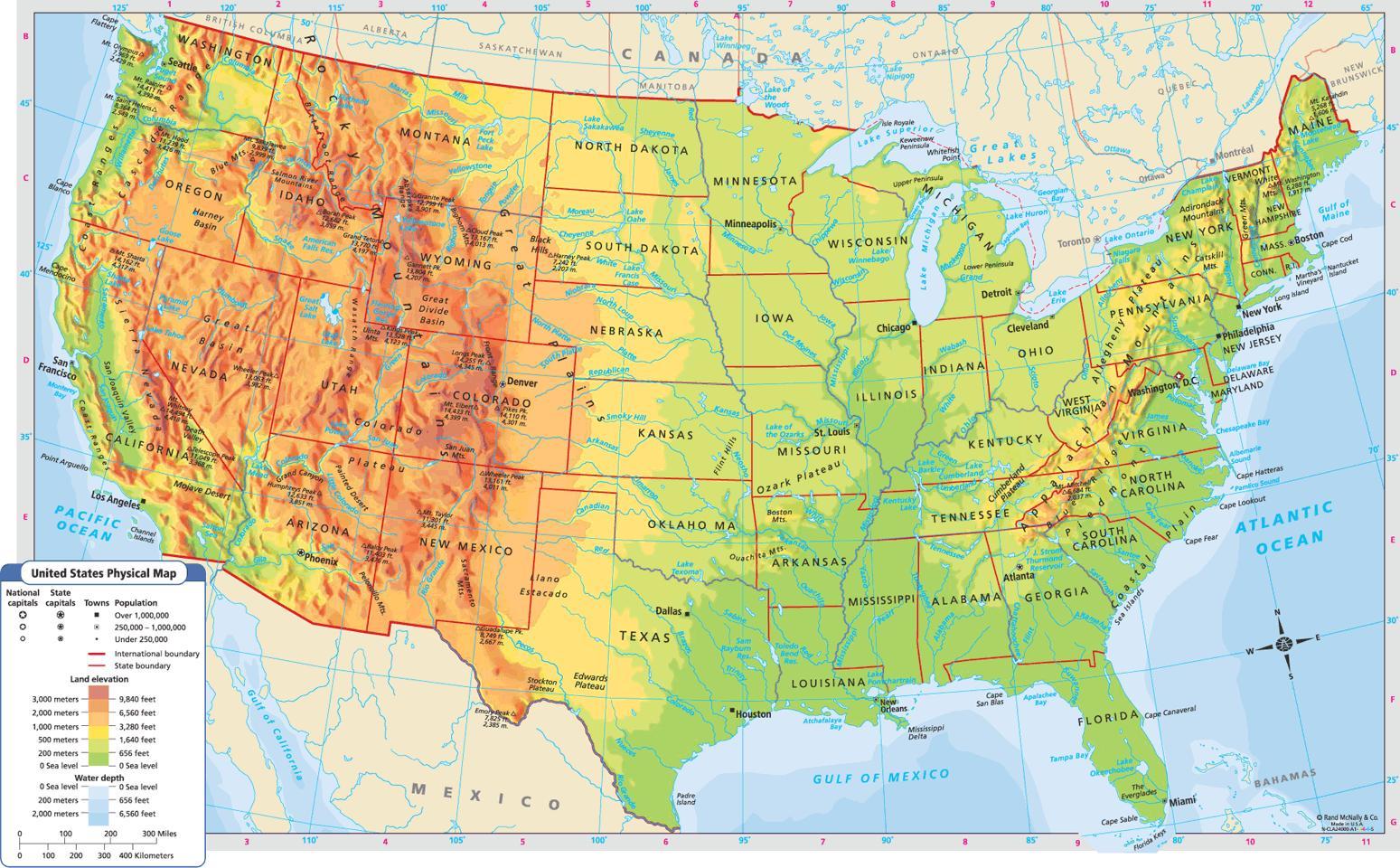Cartina Stati Uniti Fisica.Stati Uniti Mappa Fisica Fisica Mappa Stati Uniti America Del