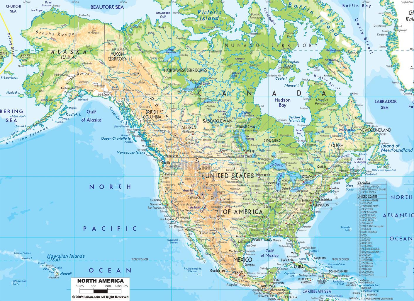 Stati America Del Nord Cartina.Stati Uniti Mappa Geografica Cartina Geografica Dell America