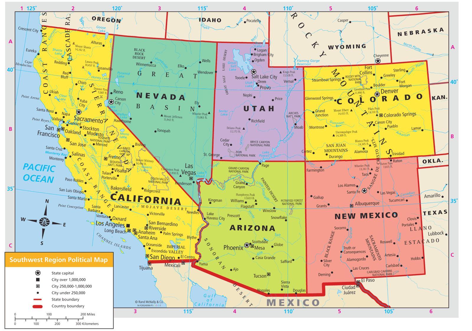 America Occidentale Cartina.Sud Ovest Usa Mappa Sud Ovest Della Mappa Degli Stati Uniti America Del Nord America