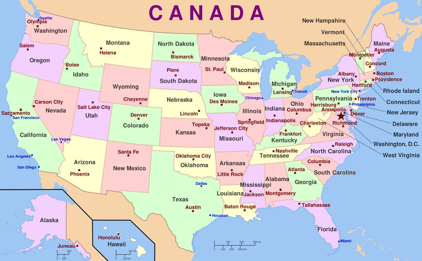 Cartina Stati Uniti Damerica Con Capitali.Usa La Mappa Stati E Capitali Mappa Degli Stati Uniti Con Capitelli E Uniti America Del Nord America