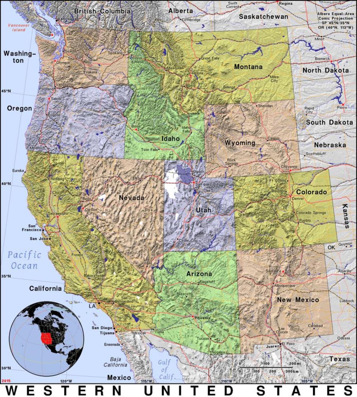 America Occidentale Cartina.Mappa Di Stati Uniti Occidentali Mappa Occidentale Degli Stati Uniti America Del Nord America