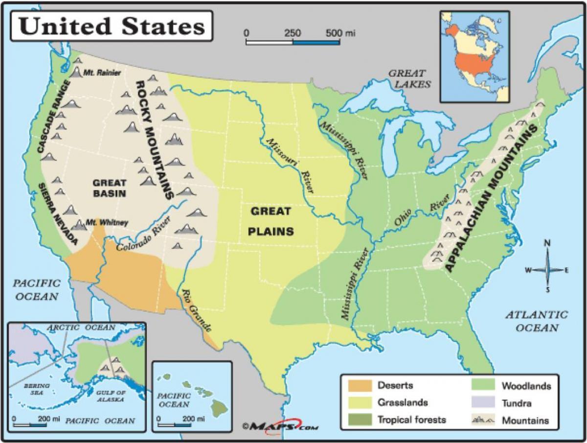 Cartina Fisico Politica Degli Stati Uniti.Mappa Fisica Di Usa Mappa Fisica Stati Uniti America Del Nord America