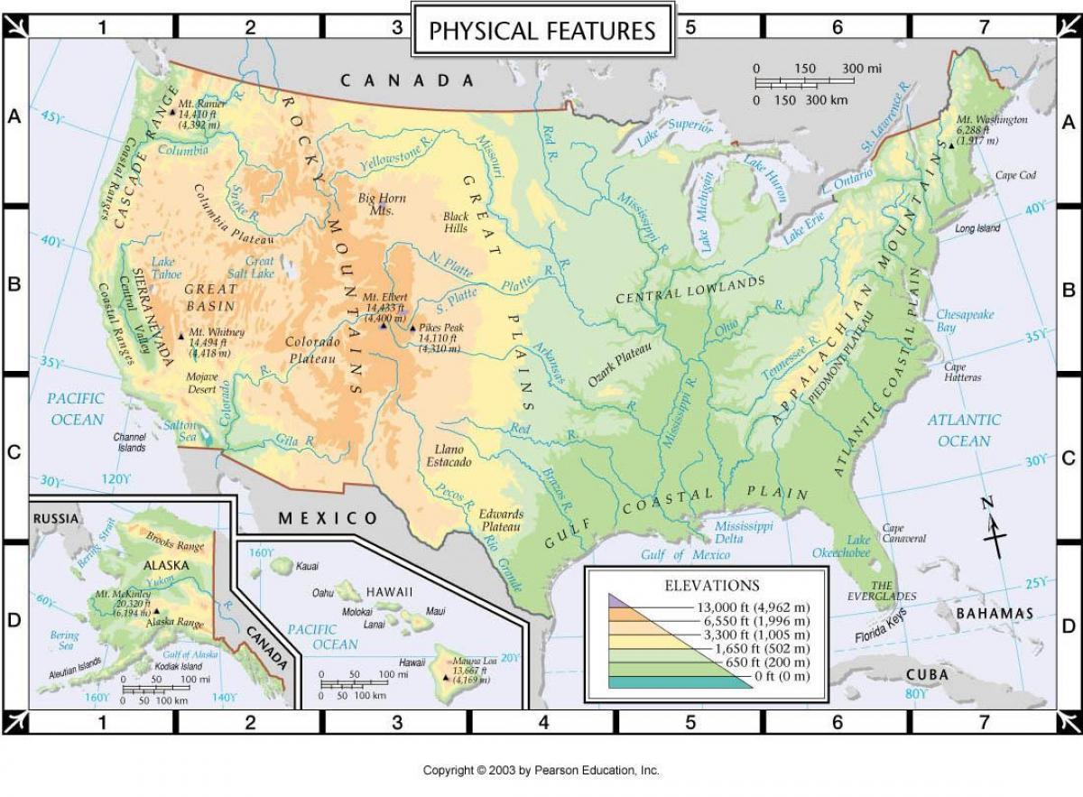 Usa Cartina Geografica Fisica