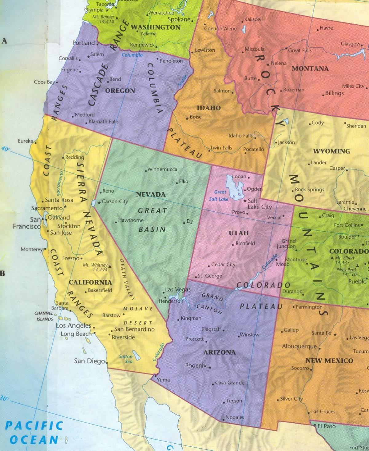America Occidentale Cartina.Occidentale Degli Stati Uniti Mappa Mappa Dell Ovest Degli Stati Uniti America Del Nord America